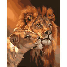 DIY Two Lion Hand Painted Canvas Oil Painting Wall Craft Home Art Decor No Frame