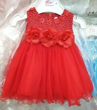 FLOWER GIRLS KIDS BEAUTIFUL RED PARTY WEDDING CHRISTMAS DRESS 0 TO 24 MONTHS