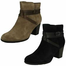 Ladies Clarks Heeled Buckle Detailed Ankle Boots Enfield Coco