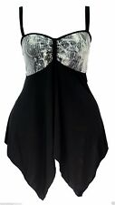 Womens Size 18 - 24 Sexy New Stretch Sequin Lace Strappy Black Floaty Top