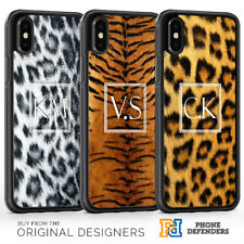PERSONALISED ANIMAL PRINT SQUARE INITIAL FUR Phone Case Cover For iPhone Samsung