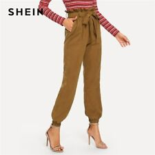 SHEIN Brown Casual Solid Belted Pocket High Waist Pants Autumn Office Lady