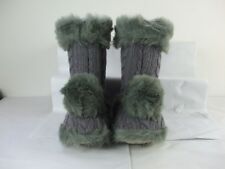 Ladies RUBY & ED Slipper Boots Cable Knit Slippers Faux Fur Pom Pom Size 3-8