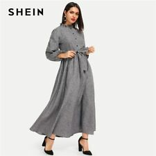 SHEIN Grey Frill Trim Button Front Hijab Dress Plain Stand Collar Long Sleeve