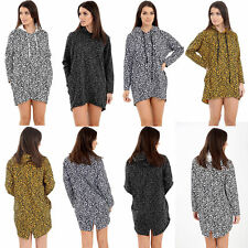 Ladies Womens Animal Leopard Print Hooded Jumper Long Sleeve Pullover UK Sizes