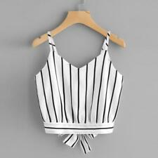 Feitong Summer Sexy Crop Tops Women Self Tie Back V Neck Striped Crop Cami Top C