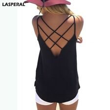 Lasperal Back Hollow Out Sexy Crop Top Women Sleeveless Knitted Cotton Tank Top1