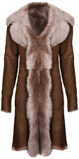 Beaver Ladies Women's Real Toscana Sheepskin Leather Suede Jacket Trench Coat