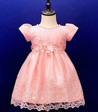 BABY GIRLS GORGEOUS PEACH PARTY WEDDING BRIDESMAID DRESS 0 TO 24 MONTHS