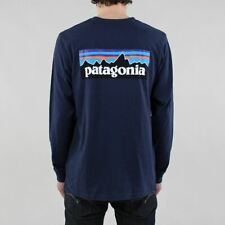 Patagonia Men's New P-6 Logo Long Sleeve Responsibili-Tee T-shirt Classic Navy