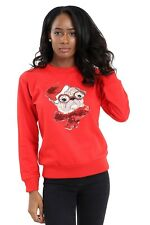 Women New ugly Christmas Crew neck Red Sweatshirt with Cute Paw Pug Size S-2XL