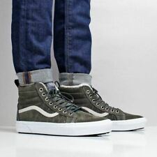 ecf74bc832 Vans SK8-Hi MTE Water Resistant Suede Fleece Lined Shoes Dusty Olive Green