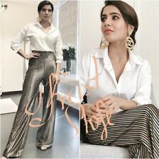 ZARA STRIPED VELVET LOOSE FIT HIGH WAIS FLOWING PALAZZO TROUSERS M L CELEB