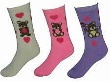 Ladies Thermal Socks Teddy Bear Designs 4-7 Womens Winter Extra Warmth 3 Pairs