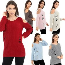 Women's Cut Out Jumper Cold Shoulder Long Sleeve Cable Knitted Distressed