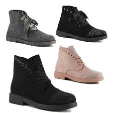WOMENS CASUAL COMBAT RIBBON LACE UP STUDDED ANKLE BOOTS LADIES SHOES SIZE 3-8