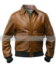 NEW Men A-2 Bomber AVIATION Flight Air Force 100% Genuine Leather Jacket Brown