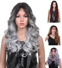 """24"""" Lace Front Wig Handtied Ombre Long Curly Wavy Heat Resistant Hair"""