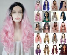 """24"""" Long Wavy Curly Lace Front Wig Heat Safe Fiber Hair Ombre Women"""