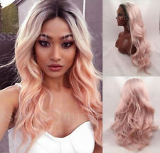 """24"""" Ombre GlueLess Lace Front Wig Long Wavy Curly Heat Resistant Hair Fashion"""