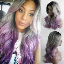 """24"""" Ombre Heat Resistant Hair Long Wavy Women Party GlueLess Lace Front Wig"""