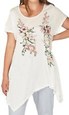 Womens New White Sheer Long Top Floral Asymmetric 4 Point Hem Ladies Plus Size