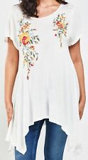 Womens New White Sheer Long Top Floral 4 Point Asymmetric Hem Ladies Plus Size
