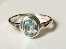 925 Sterling Silver Blue Topaz Ring Faceted Gemstone Stack Stackable Size 6 7 9