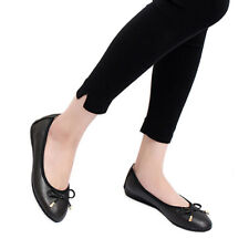 Women Ballet Flats Foldable Leather Closed Toe Flat Pumps Bow Ballerina Shoes