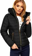 Womens Size 16 8 20 Winter Black Puffer Jacket Parka Quilted Hooded New Zip