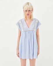 ZARA SS18 Light Airy Short Stripe Jumpsuit Dress With Embroidered Trim S M L