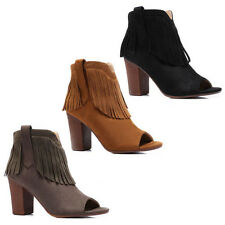 WOMENS BLOCK HEEL COWBOY STYLE PEEP TOE TASSEL ANKLE BOOTS LADIES SHOES SIZE 3-8