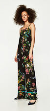 ZARA Floral Tropical Print Long Flowing Wide Leg Strappy Jumpsuit XS S BNWT