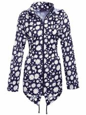 Womens Plus Size Lightweight Hooded Zip Floral Rain Coat Kagool Cagoule Jacket