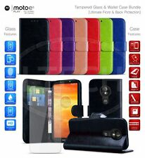 """Magnetic Leather Wallet Case for Motorola Moto E5 Play / XT1920 (5.3"""") & Glass"""