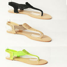 WOMENS SUMMER GLADIATOR STRAPPY FLAT FLIP FLOPS SANDALS LADIES SHOES SIZE 3-8