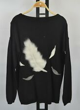 Womens Girls Warm Knit Feather Embroidered Christmas Jumper Pullover Long Sleeve