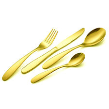 Cutlery Set Gold Plated Stainless Steel Kitchen Dinning 16 24 32 48 Pieces