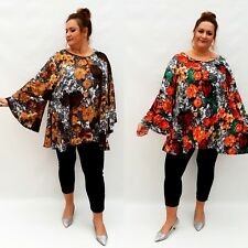 Plus Size Top Tunic Lagenlook Loose Stretchy Blouse Long Sleeve Floral Wolfairy
