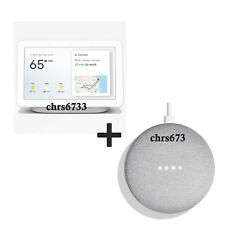 Google Home Hub with Google Assistant Chalk Charcoal Mini Combo