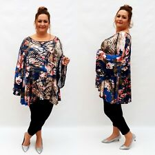 Plus Size Top Tunic Lagenlook Stretchy Blouse Long Sleeve Jersey Floral Wolfairy