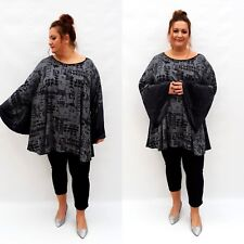 Plus Size Top Tunic Lagenlook Loose Stretchy Blouse Long Sleeve Jersey Wolfairy