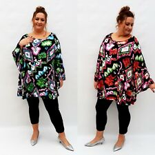 Plus Size Top Tunic Lagenlook Loose Stretchy Blouse Long Bell Sleeve  Wolfairy
