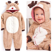 Ex Jojo Maman Bebe Boys Girls Christmas Hooded Reindeer All in One 0 - 24 Months