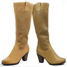WOMENS MID HIGH CUBAN HEEL CASUAL KNEE HIGH BOOTS LADIES SHOES NEW SIZE 3-7