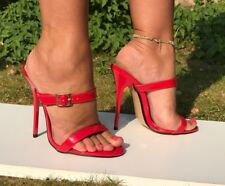 Sexy killer 13.5cm black or red strappy high heel stiletto mules sandals fetish