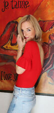 H&M Trend Red Crêpe Body Top With Frilled Sleeves Top UK 10 12 14 EU 36 38 40
