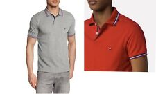 Tommy Hilfiger Men's Tommy Tipped Polo Shirt Grey Red