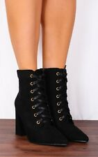 Ladies Black Lace Ups Pointed Faux Suede High Heeled Heels Ankle Boots