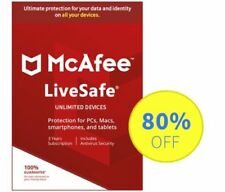McAfee LiveSafe 2019 Antivirus -1/2/3/5 Years Unlimited Subscription- Download